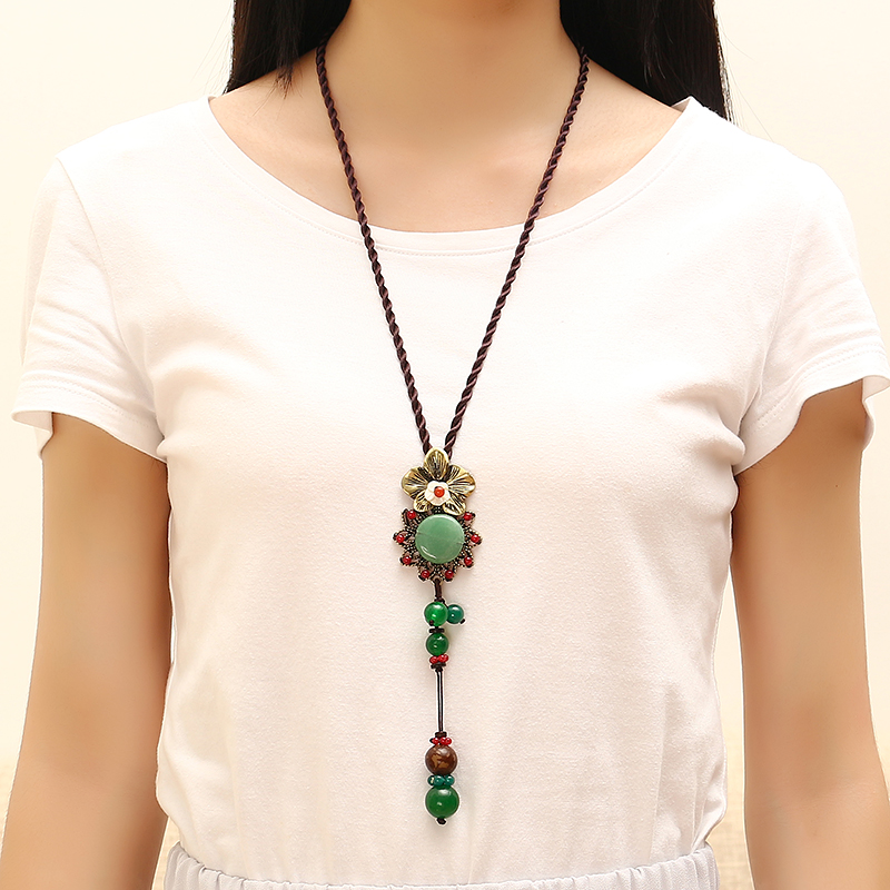 Ethnic Vintage Necklace Retro Flower Pendant Jade Rope Necklace for Women