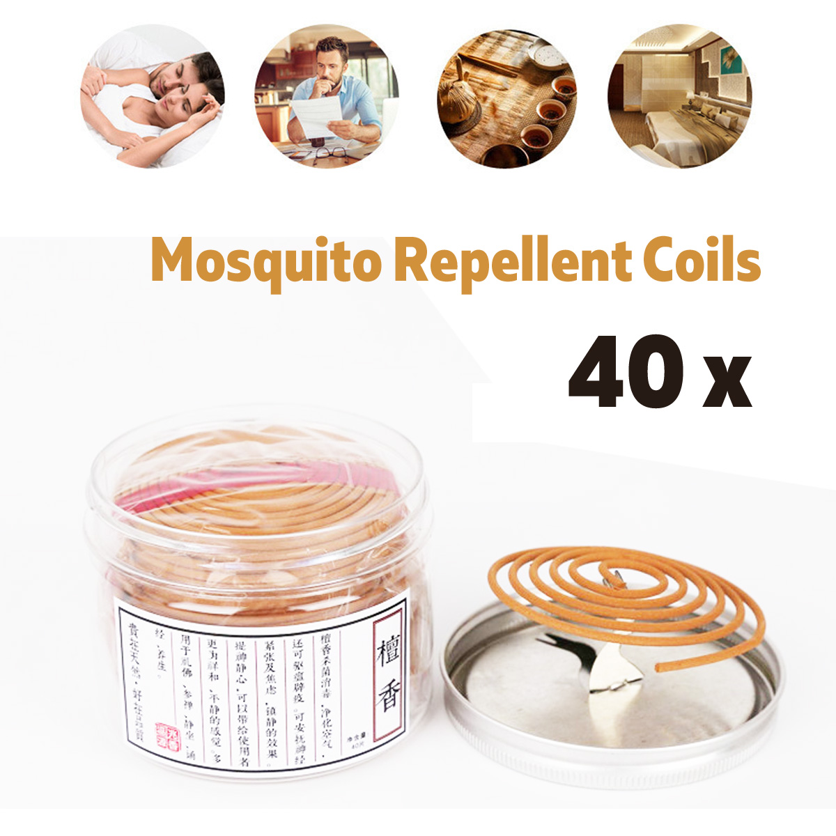 40Pcs Mosquito Dispeller Coils Anti Midge Strider Bug Repellant Home Camping Outdoor with Holder