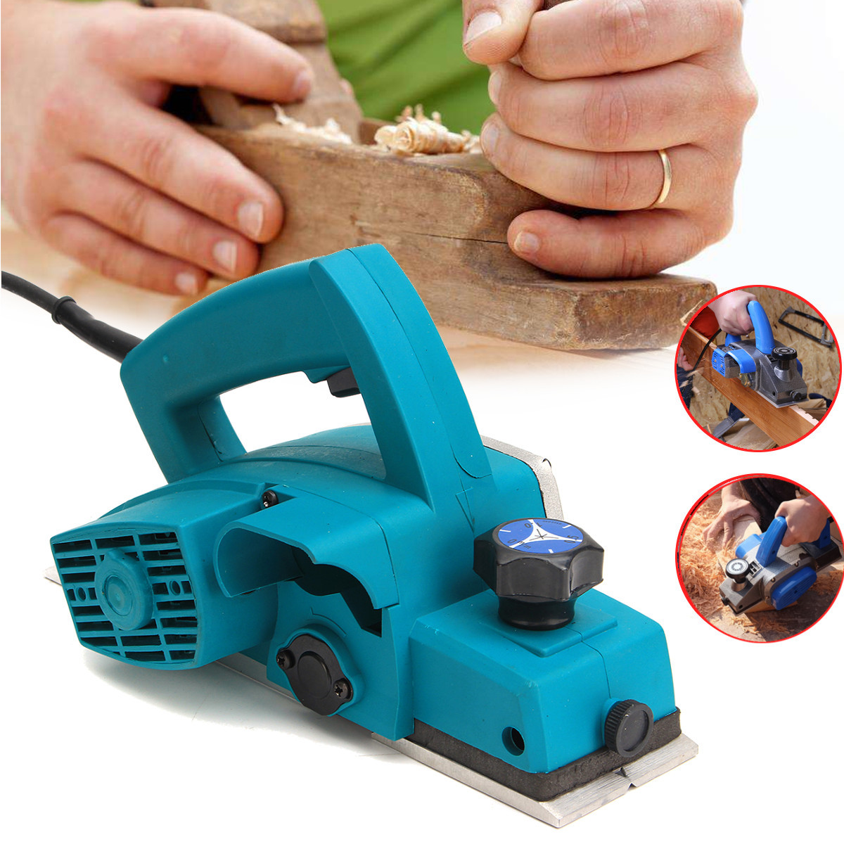 220V 800W Powerful Electric Wood Planer Door Plane Hand Held Woodworking Surface US Plug