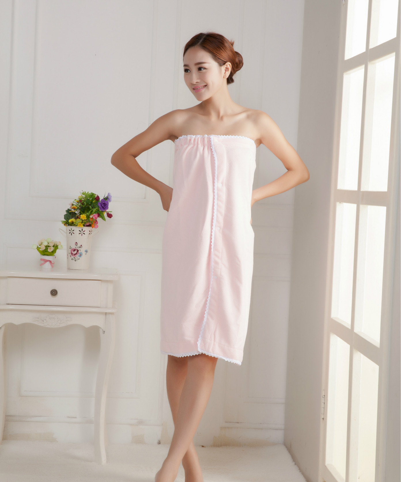 Honana BX-368 Summer Soft Beach Able Wear Spa BathRobe Plush Highly Absorbent Bath Towel Skirt