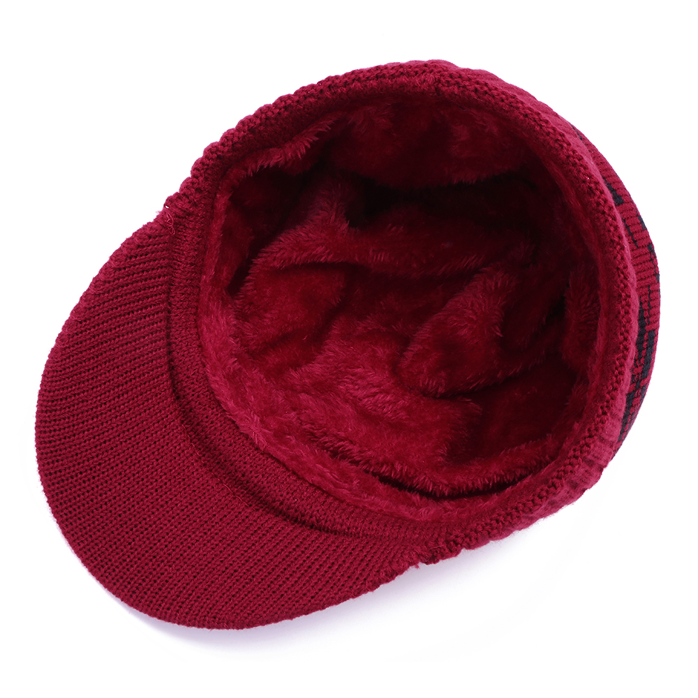 Unisex Men Winter Windproof Knit Plus Velvet Hat Scarf Set