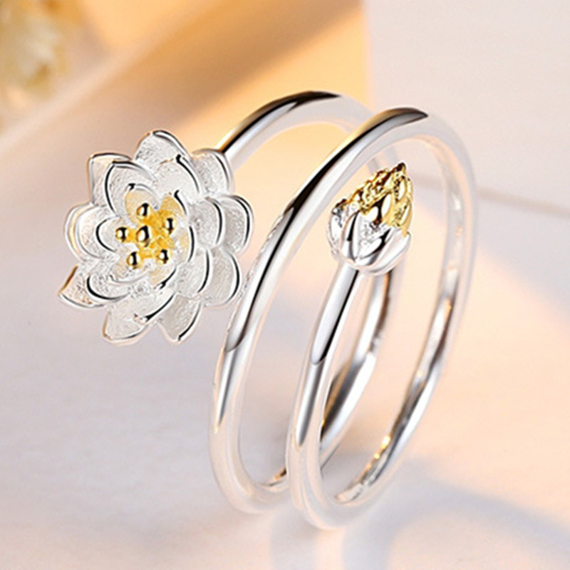 Silver Plated Adjustable Rings Lotus Charm Solid Flower