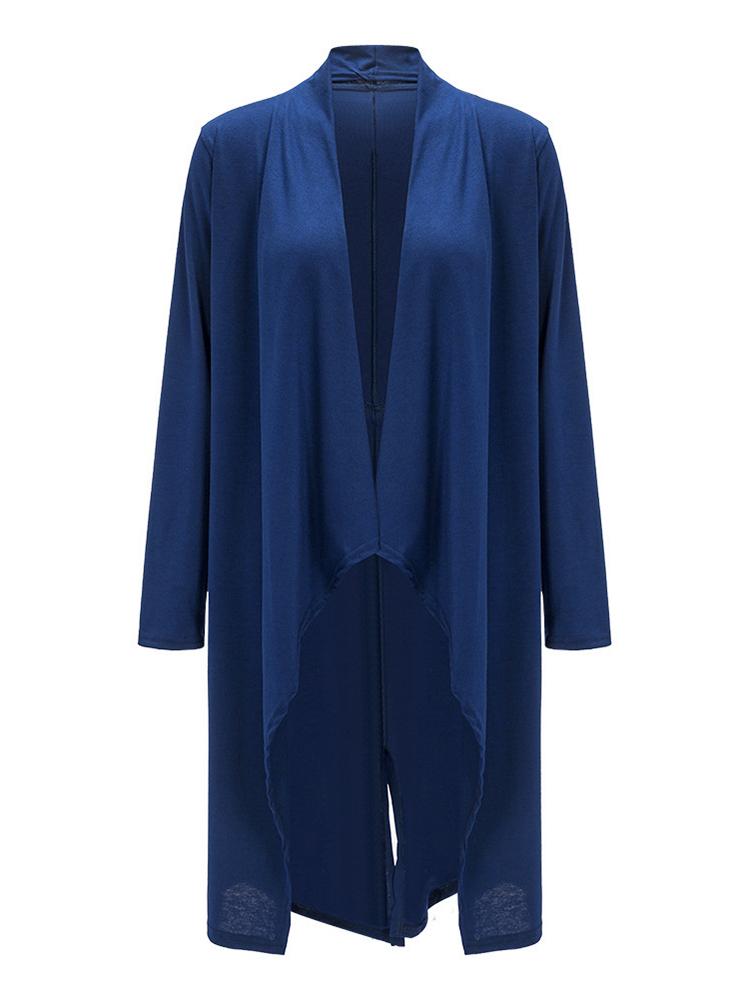 Casual Women Irregular Hem Pure Color Long Sleeve Cardigan