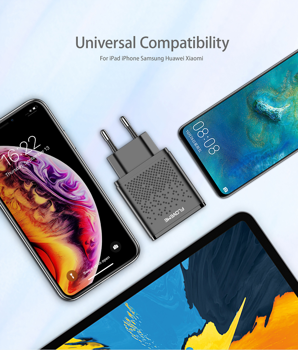 FLOVEME 2.4A Dual USB Ports Phone Charger EU Plug for Oneplus 6T Pocophone f1 S9 Xiaomi Mi8 Note 9