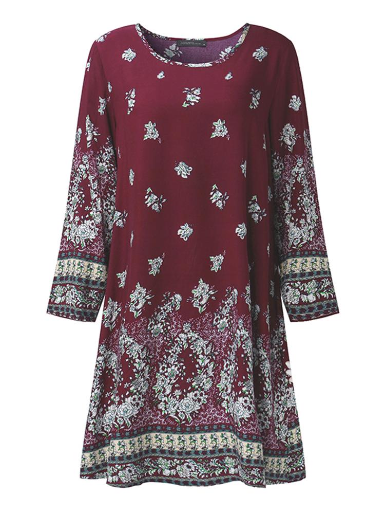 Vintage Women Floral Print O-Neck Rayon Boho Mini Dresses