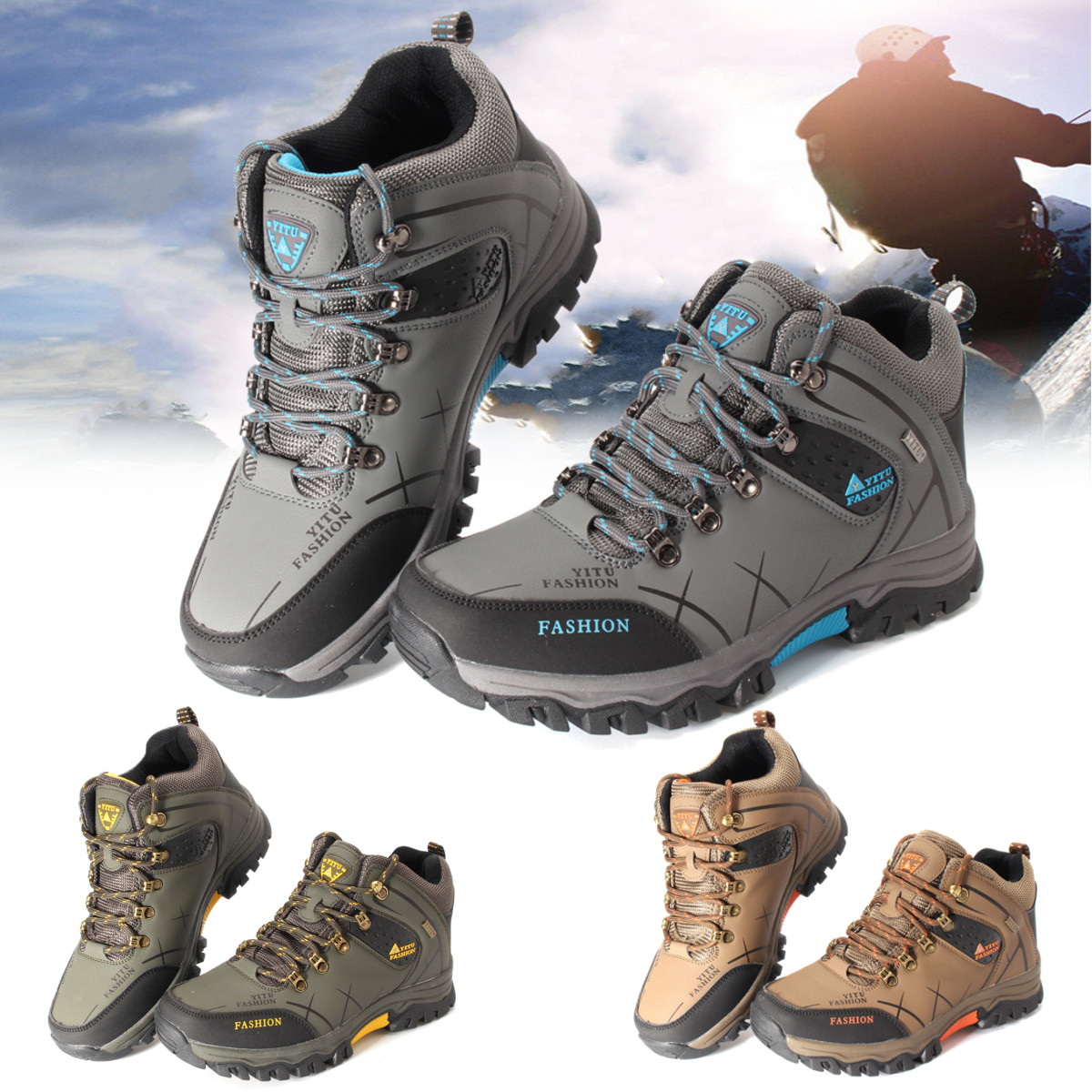 Mens Big Size Trail Hiking Boots Waterproof Athletic Non Slip Outdoors Shoes