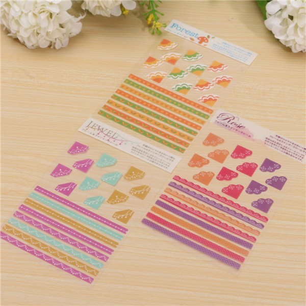 3 Pcs Korea Simple Life Painting Diary Stickers Diary Book Album Decoration