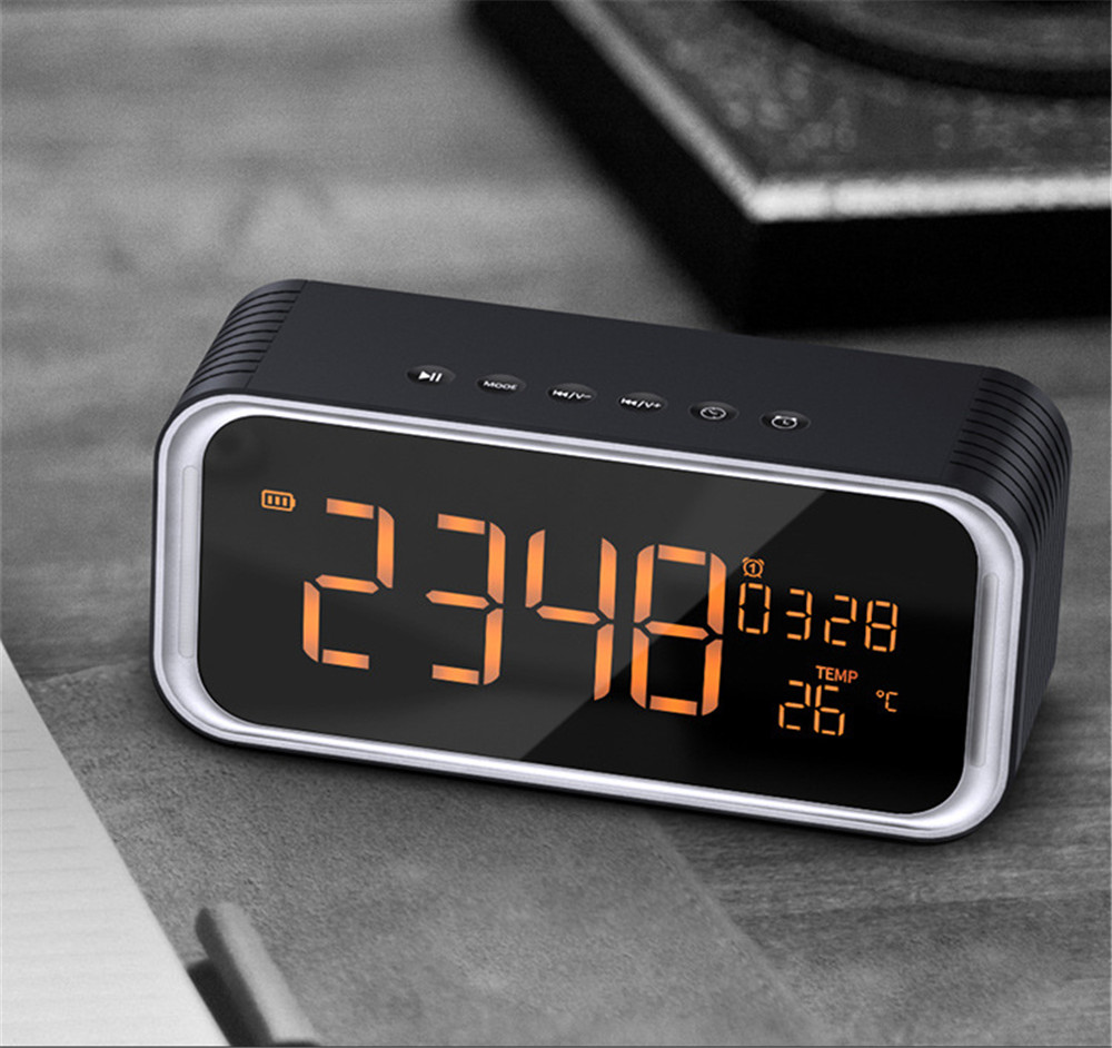 LED Digital Alarm Clock with bluetooth Music Speaker Temperature Time Calendar Display Electronic HIFI Home Office Table Clock