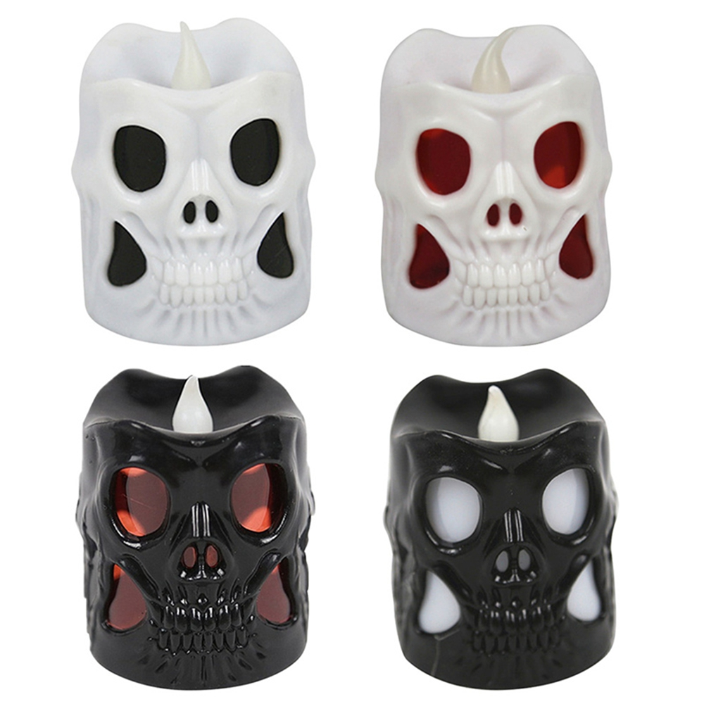 Battery Operated Colorful Skull Ghost Candle LED Night Light for Halloween Party Home Decorative