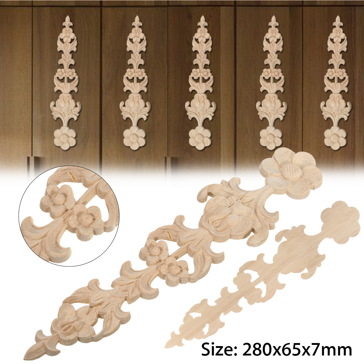 Wood Carved Applique Frame Onlay Furniture Decoration Unpainted 280x65x7mm