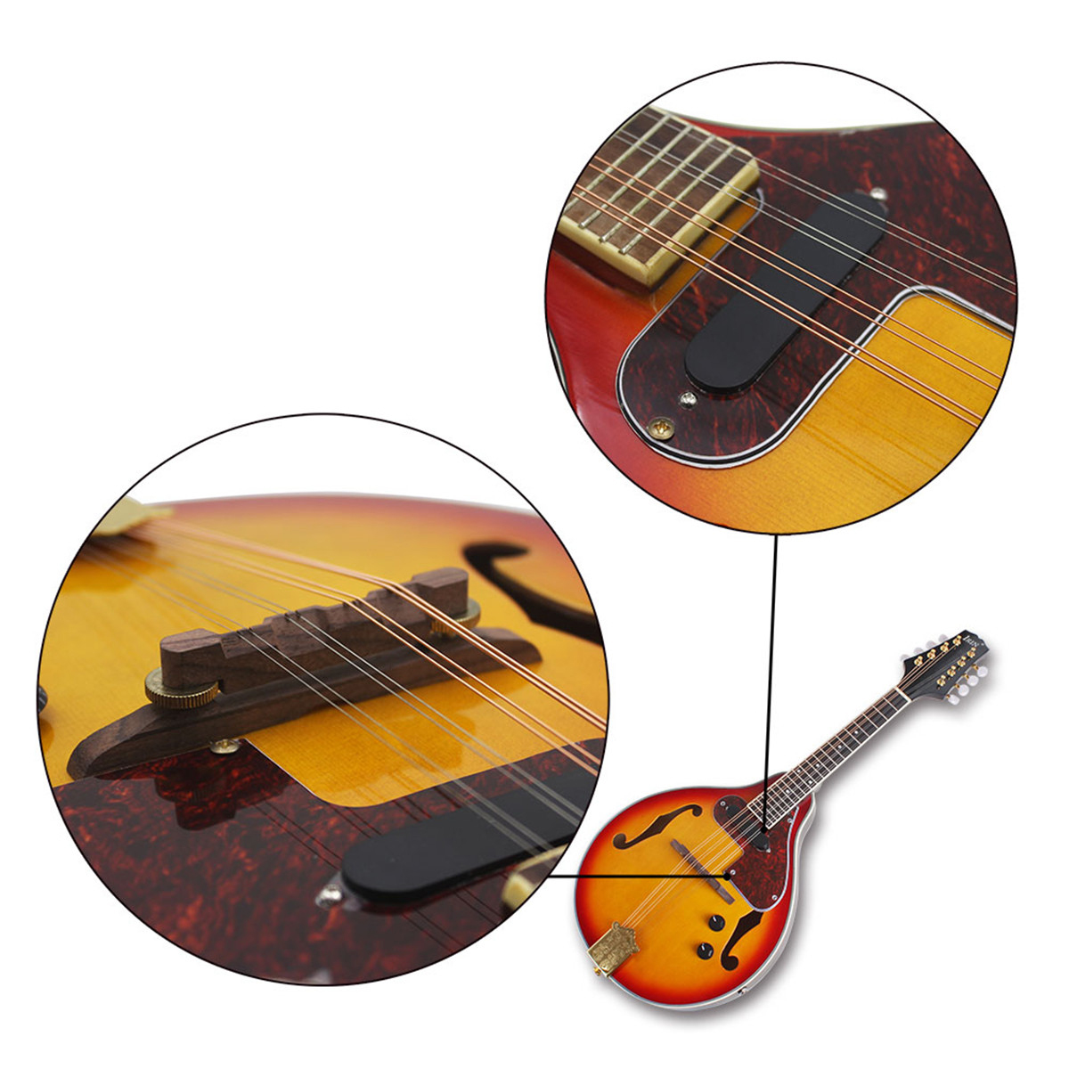 IRIN ME-21 8 Strings Sunset Color Electric Mandolin With Pickle/Wipe Cloth/3M Connection