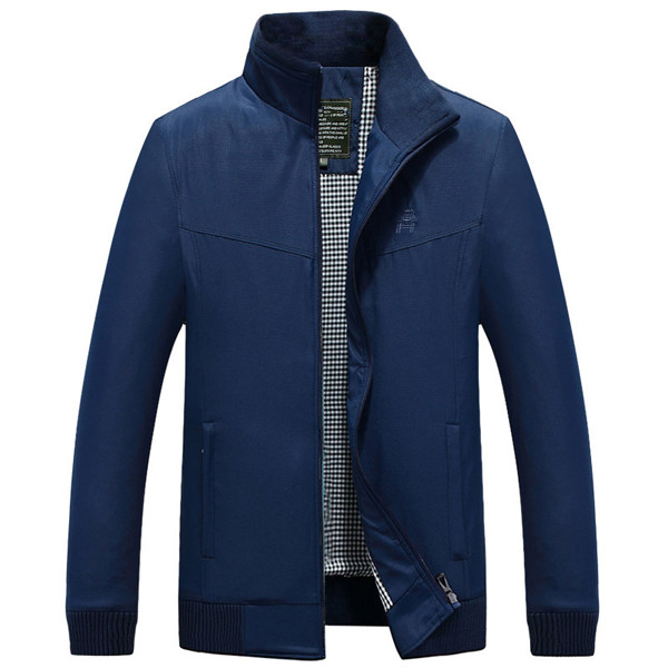 Mens Stand Collar Jacket Solid Color Spring Autumn Casual Polyester Coat