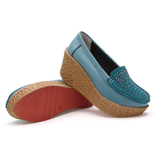 Casual Platform Slip On Round Toe Wedge Loafer Shoes