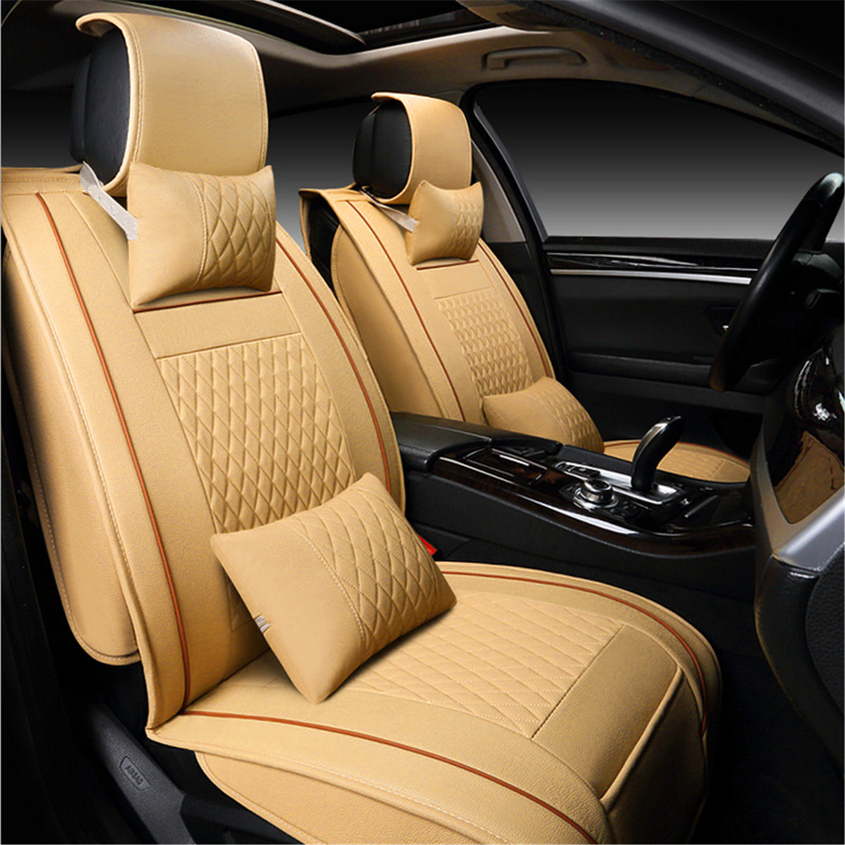 PU Leather 5 Seats Car Seat Cover Cushion Front Rear wi