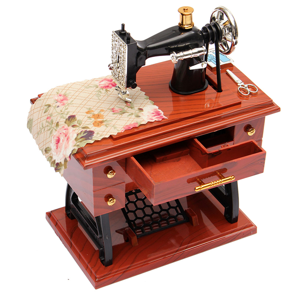 Treadle Sewing Machine Music Box Antique Gift Musical Education Toys Cool Singer Sewing Machine Music Box