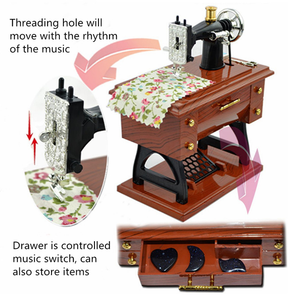Treadle Sewing Machine Music Box Antique Gift Musical Education Toys Home Decor Fashion Accessories