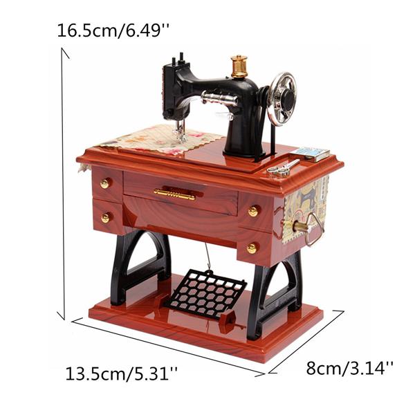 Treadle Sewing Machine Music Box Antique Gift Musical Education Toys Enchanting Singer Sewing Machine Music Box