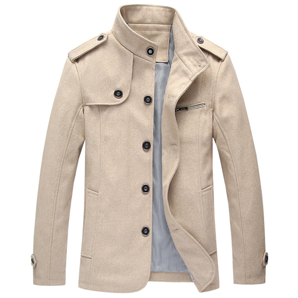 Mens Stand Collar Retro Stylish Jacket Overcoat
