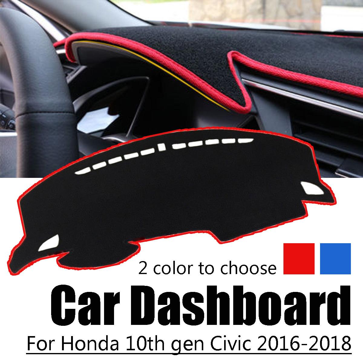 Non-slip Car Dash Mat Dashboard Sun Cover Pad Polyester DashMat for Honda 10th Gen Civic 2016-2018