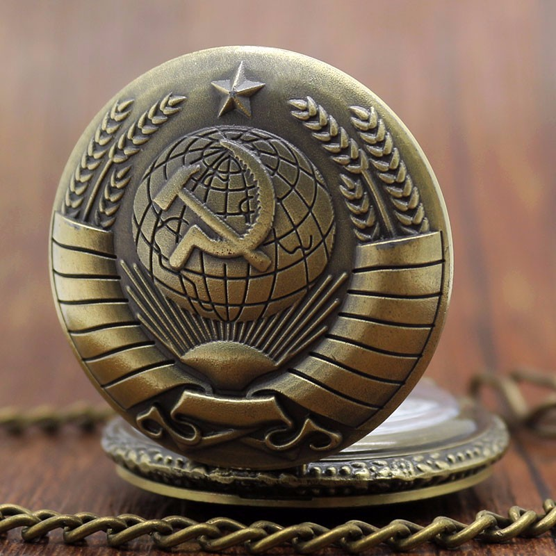 DEFFRUN P380 Retro Steampunk Soviet Sickle Hammer Bronze Gold Quartz Pocket Watch Antique Pendant