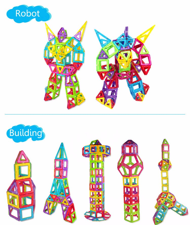 Kids Toys Enlighten Bricks Educational 3D DIY Magnetic Square Triangle Hexagonal Building Blocks