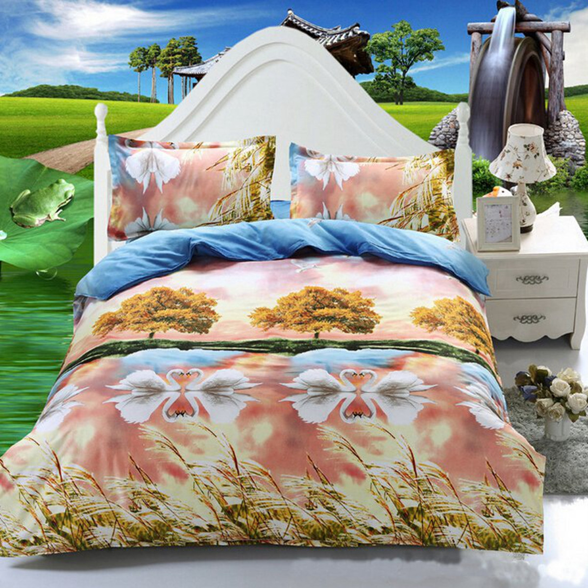 3 Or 4pcs 3D Swan Lake Reactive Dyeing Polyester Fiber Bedding Sets Twin Queen Size