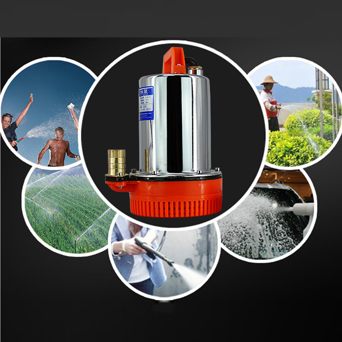 48V Submersible Clean Dirty Water Pump 1.5HP Swimming Pool Pond Flood Drain 7M