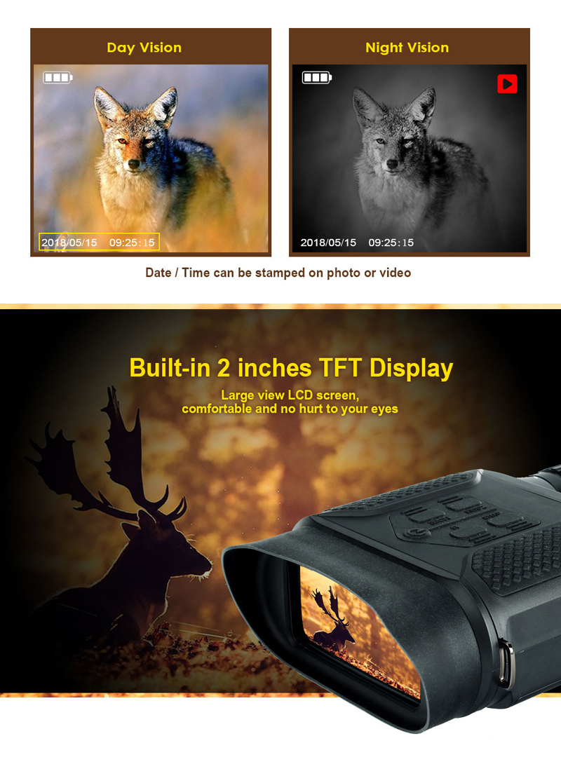 ohhunt 7X31 Digital Night Vision Binocular Hunting Built-in IR Illuminator Photo Video Recorder