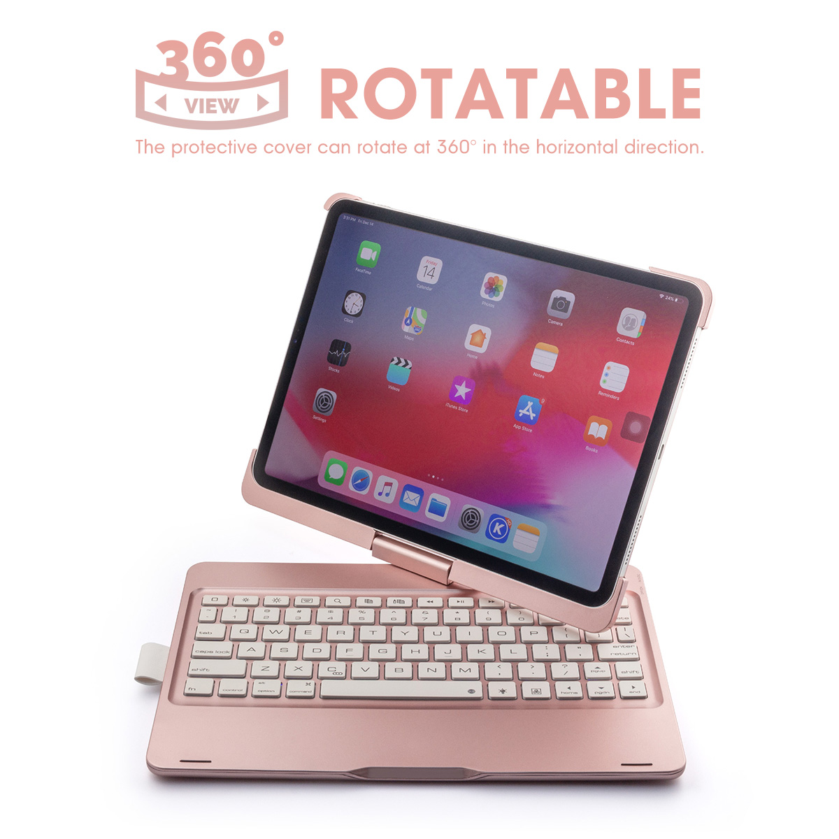 Alluminum Alloy 7 Colors Backlit 360º Rotation Wireless bluetooth Keyboard For iPad Pro 11 Inch 2018