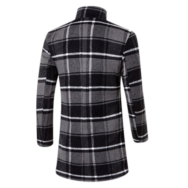 Mens Stand Collar Long Coat Warm Large Lattice Fashion Style Trench Coat