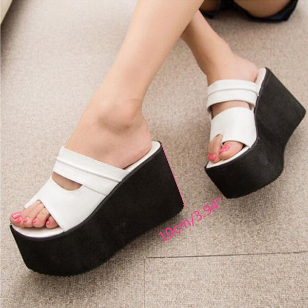 867cbe11ec41b1 Women Roma High Heel Wedges Platform Flip Flops Slippers Sandals Beach Shoes