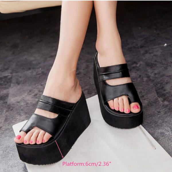 fec9fadec Women Roma High Heel Wedges Platform Flip Flops Slippers Sandals Beach Shoes
