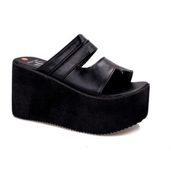 Women Roma High Heel Wedges Platform Flip Flops Slippers Sandals Beach Shoes