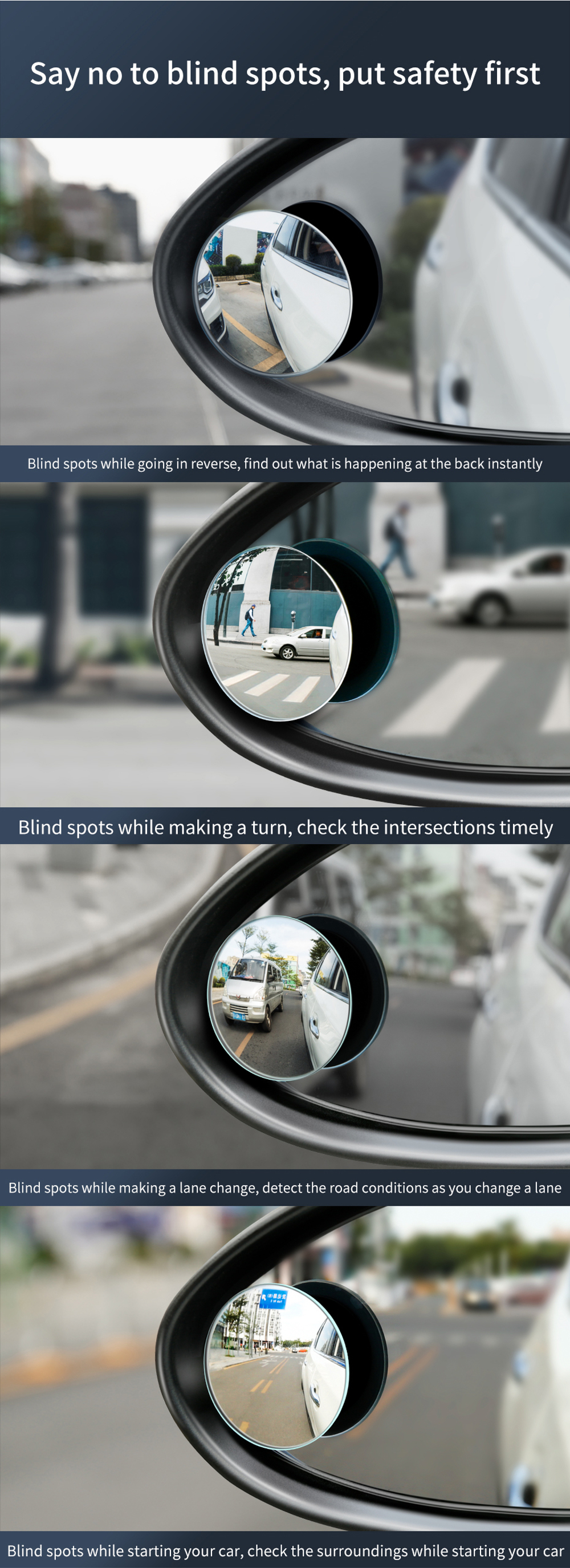 Baseus 2Pcs 49mm Car Blind Spot Rearview Mirror HD Convex 360° Wide Angle Round Auxiliary Mirror