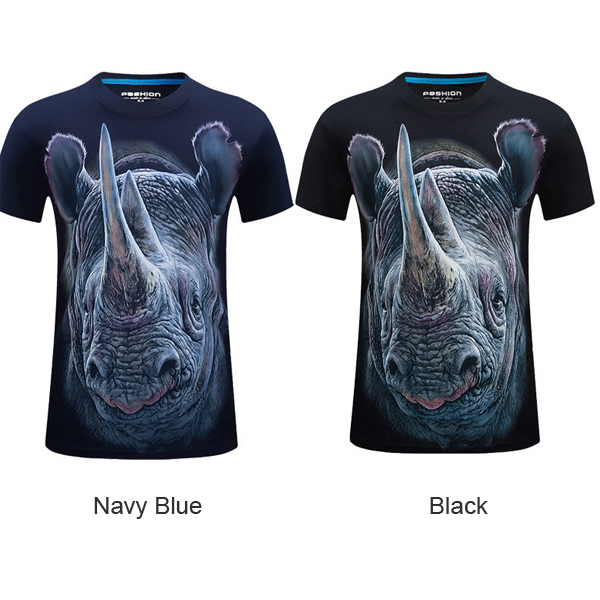 Mens Rhinoceros 3D Animal Printing Plus Size S-4XL Fashion Casual Tees Summer Short Sleeve T-shirt
