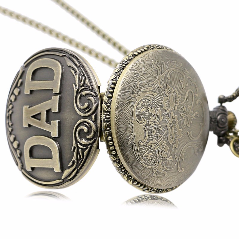 DEFFRUN Dad Pattern Antique Bronze Quartz Pocket Watch