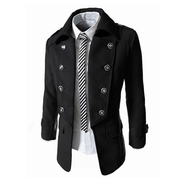 Mens Classic Double Breasted Trench Coat Unique Woolen Thick Slim Fit Short Windbreaker