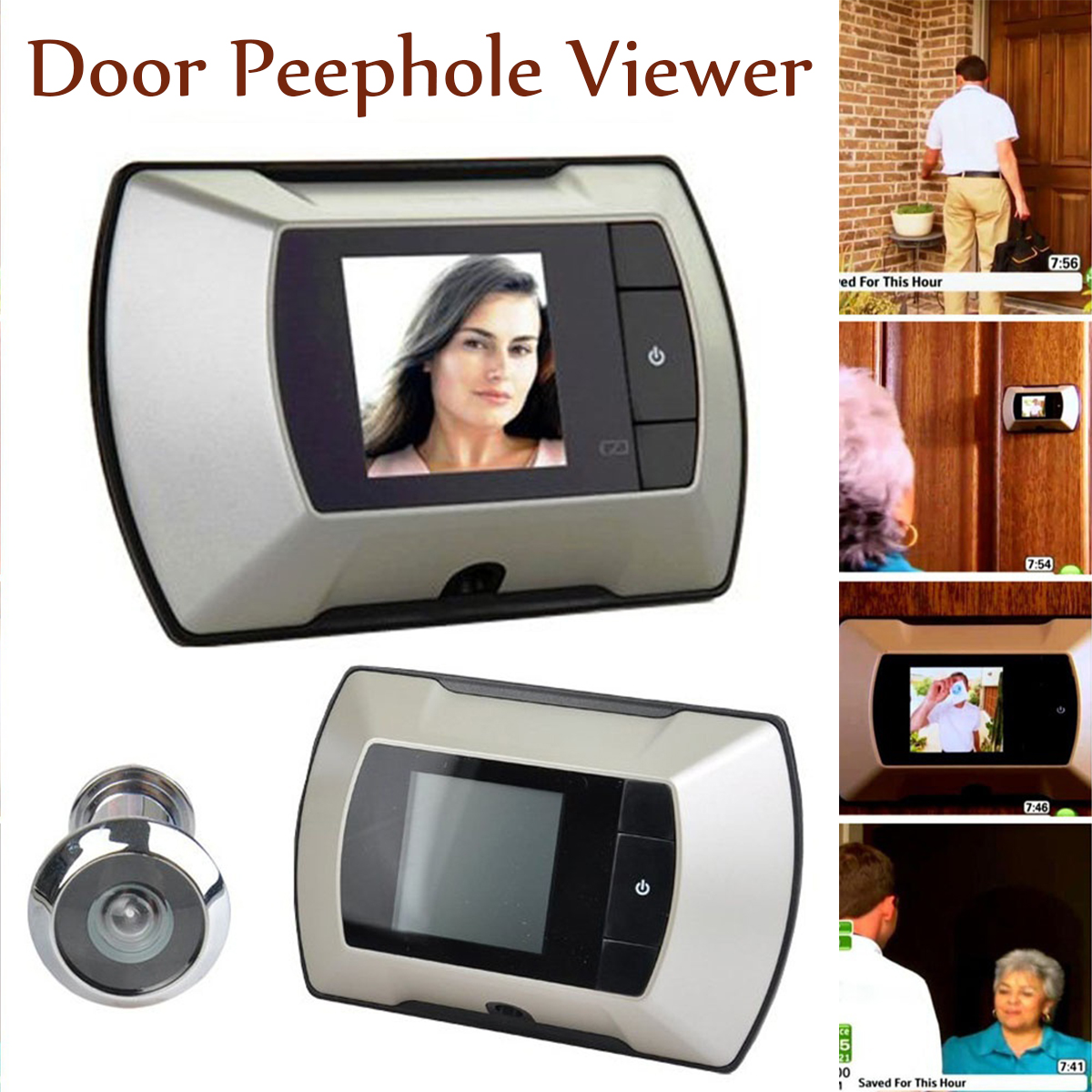 2.4 inch LCD Digital Screen Peephole Viewer Door Eye Doorbell HD Camera Home Security Visual Monitor