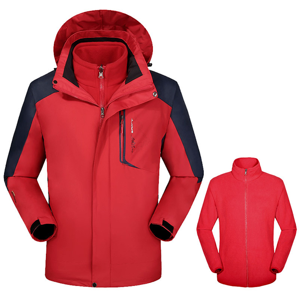 Mens 2 In 1 Outdoor Warm Hooded Jacket Waterproof Windproof Mountaineering Coat