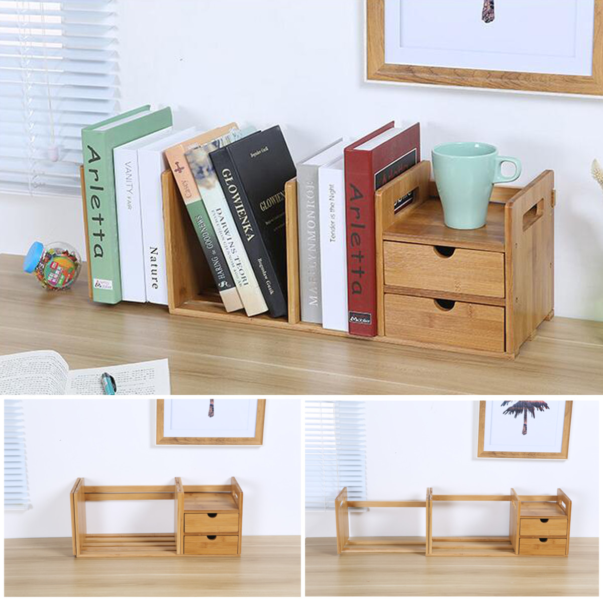 Bamboo Desktop Bookshelf Desk Organizer Extendable Storage With 2 Drawers Office School Book Holder