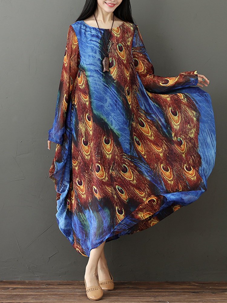 M-5XL Vintage Women Peacock Feather Print Dress