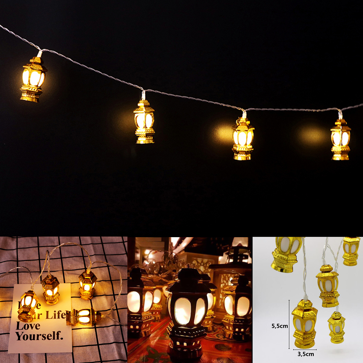 Battery Powered EID Ramadan Moon Islamic 10 LED Lantern String Light for Indoor Party Decor