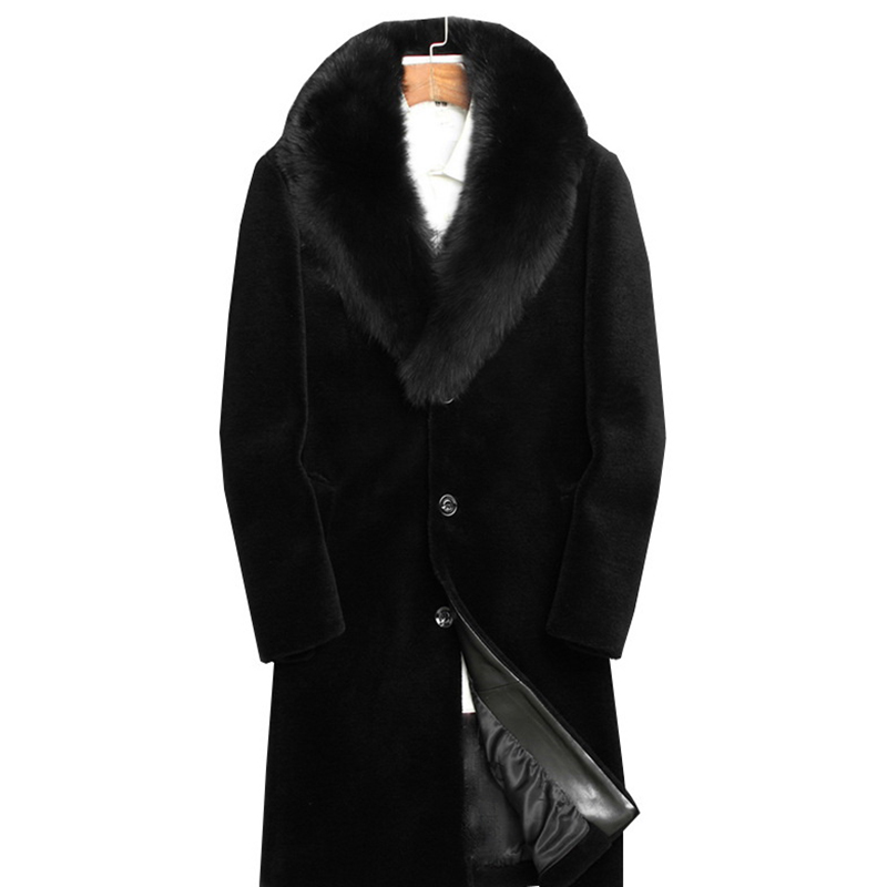 Men Faux Fur Coat Slim Fit Mid Long Winter Warm Black Casual
