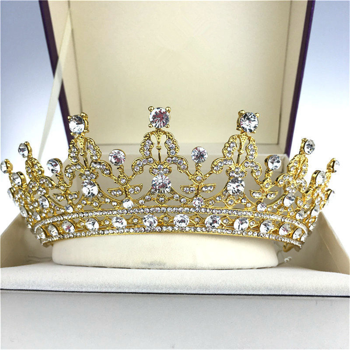 Bride Crystal Rhinestone Crown Vintage Wedding Bridal Headbrand Queen Tiara Hair Accessories