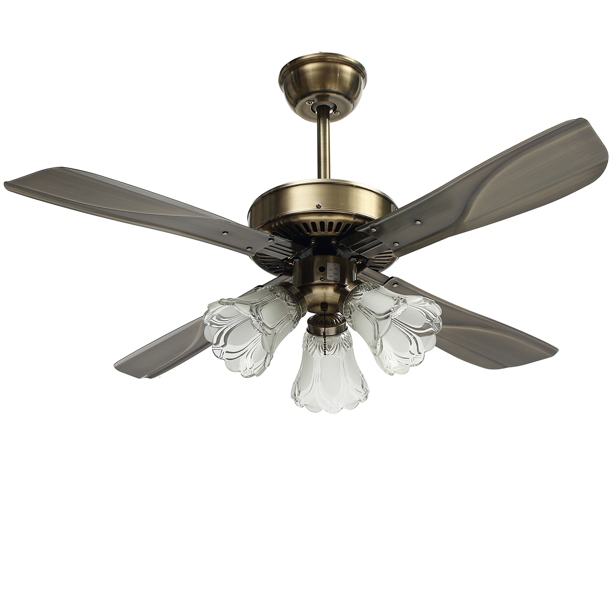 42Inch Antique Ceiling Fan with 3 Lights AC110-240V 4 Metal Blades with Romote Control 3 Speeds