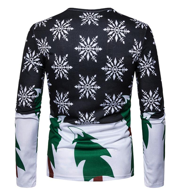 Christmas Style Headphones Elk Printing Tops Tees Men's Casual Round Neck Long Sleeve T-shirt