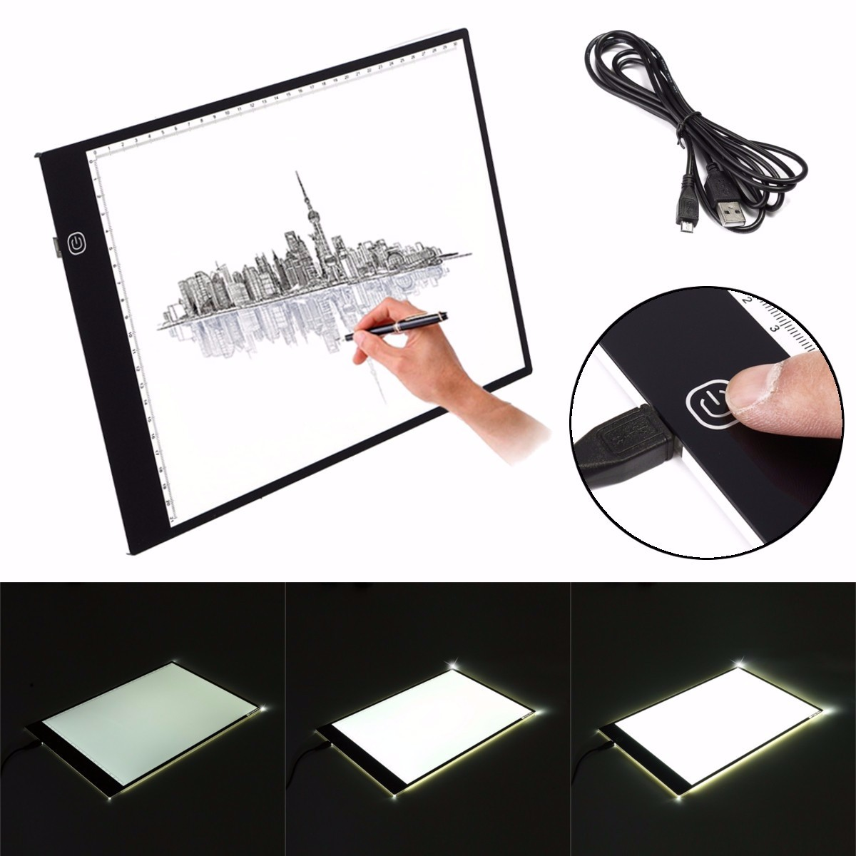 M.Way Ultra Thin A2 A3 LED Copy With USB Cable Adjustable Brightness Drawing Pad Copy board