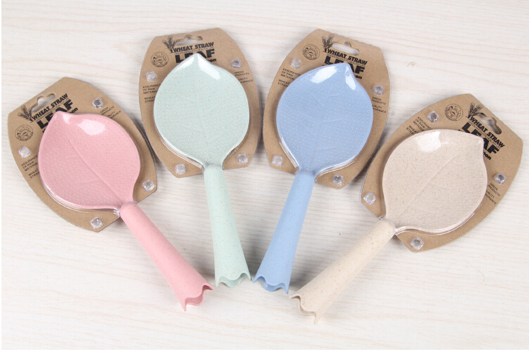 Eco Non-stick Wheat Straw Leaf Shape Standing Rice Spoon Dinnerware Accessories Kitchen Tools