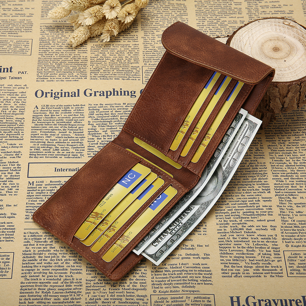 Men Business Casual Multifunctional Hasp 6 Card Holder