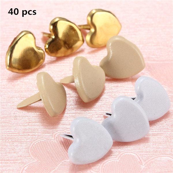 40 pcs Mini Pastel Heart Brads Crafts Scrapbooking Handmade Heart Shape Brad Pin